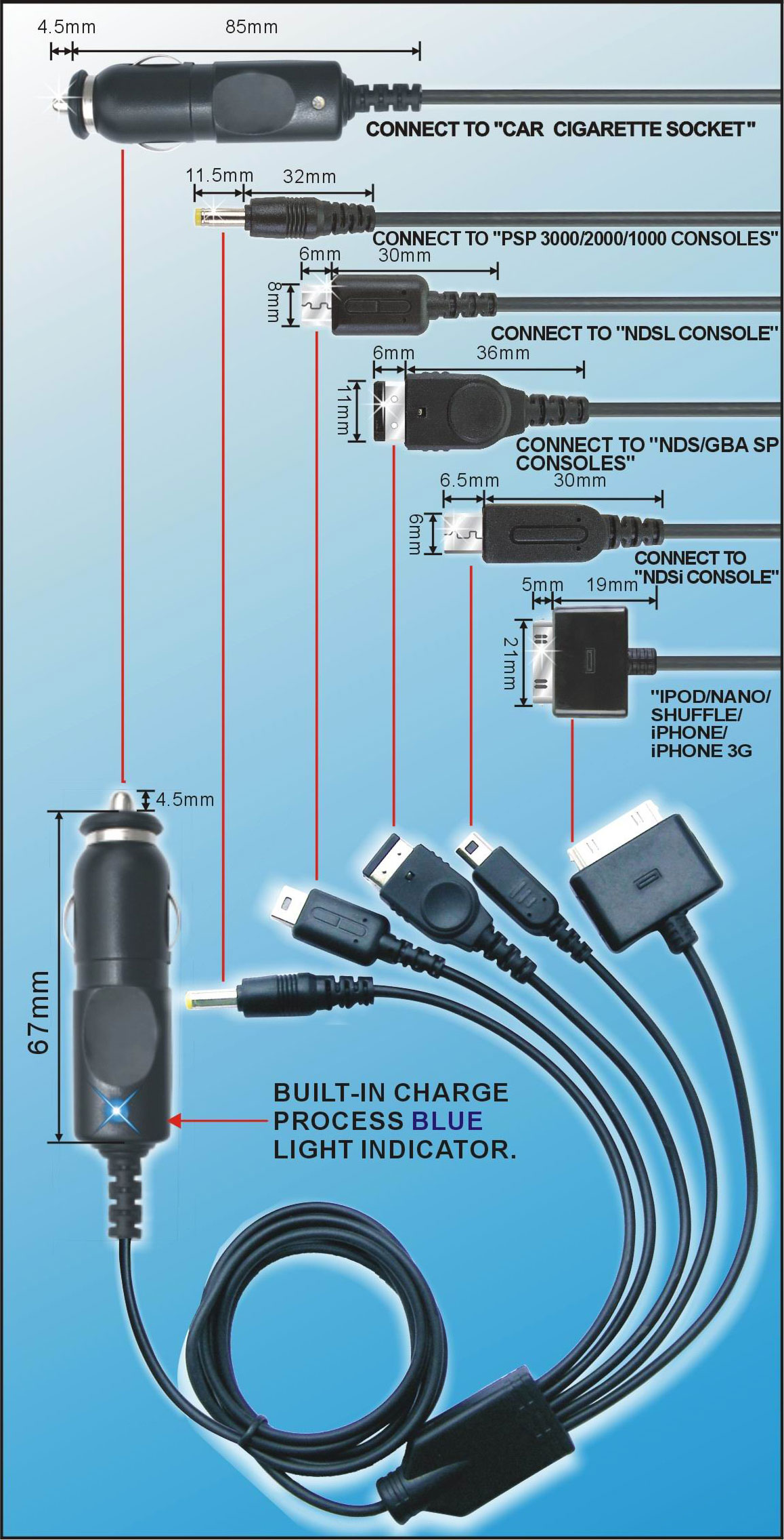 11in1 USB Charger cable for DS/DSi/DS Lite/SP/PSP/iPhone